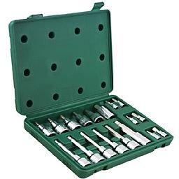 Jogo de Soquetes com Bits Hexagonais 1/4 - 1/2 Pol. com 18 Peças