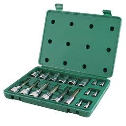 Jogo de Soquetes com Bits Torx  18 Peças com Encaixe de 1/4 - 1/2 Pol.