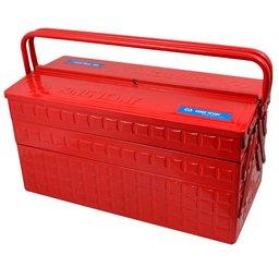 Caixa Metálica Sanfonada Vermelha para Ferramentas