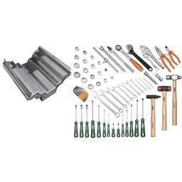Caixa sanfonada em aço inox com 65 ferramentas