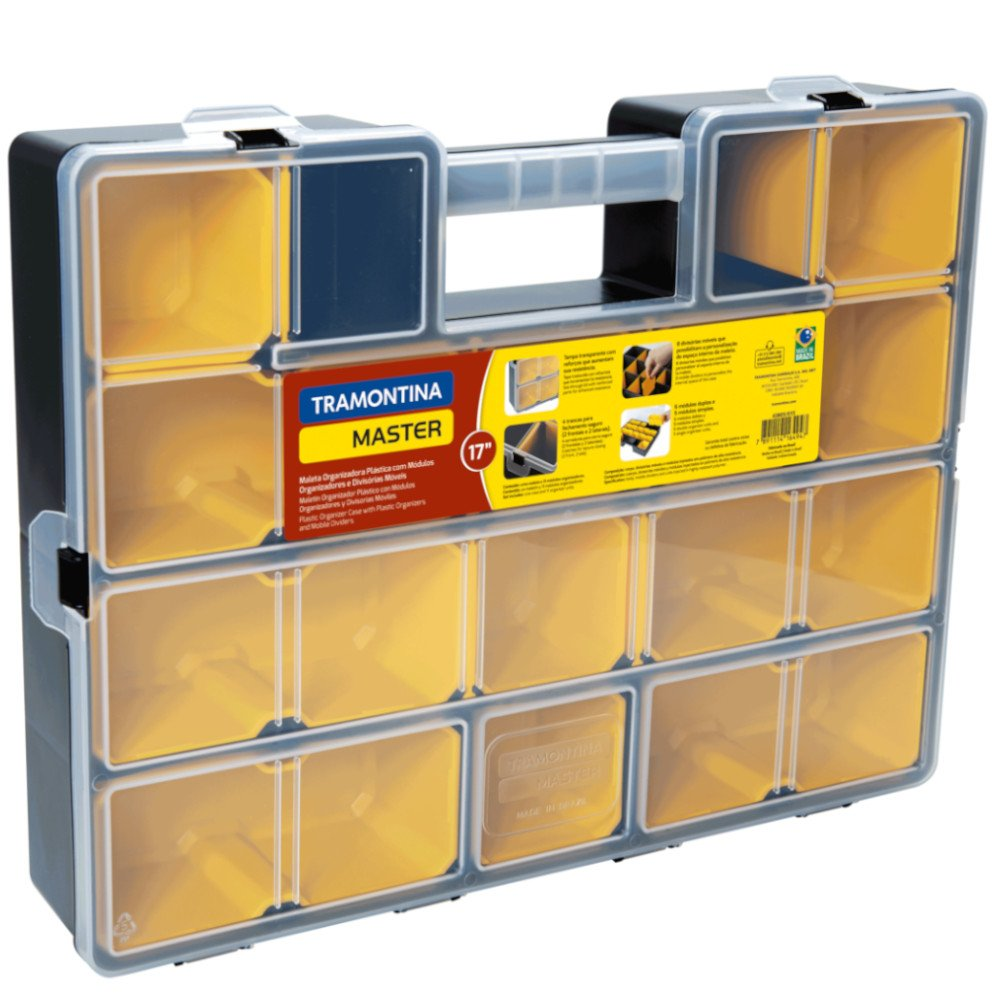 Maleta Organizadora Plástica 17 Pol. com 11 Compartimentos e 8 Divisórias Móveis