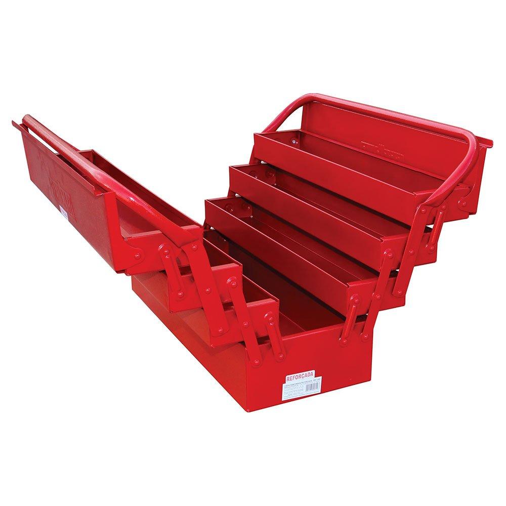 Caixa de Ferramentas Sanfonada Vermelha com 7 Gavetas