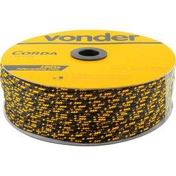 Corda multifilamento trançada, 6 mm x 165 m, preta e amarela