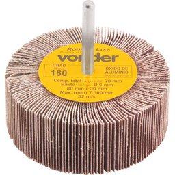 Roda de lixa 80 mm x 30 mm com haste, grão 180