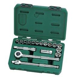Jogo de Soquetes Estriados 1/2 Pol. CR-V 10 a 24mm com 17 Peças