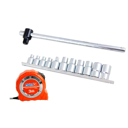 Kit Jogo de Soquetes Tork FORTGPRO-FG8580 CR-V 12 Peças + Trena Profissional 3m x 16mm