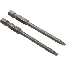 Jogo de bits/ponteiras fenda, encaixe sextavado 1/4 Pol., 4 mm x 75 mm, cartela com 2 peças