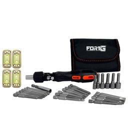 Kit Jogo de Soquetes e Bits com Chave Catraca FORTGPRO-FG162 + Placa Conectora Quadrada 60 x 30 x 2,2 mm