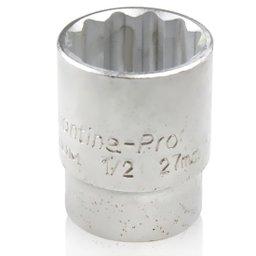 Soquete Estriado com Encaixe de 1/2 Pol. 27 mm