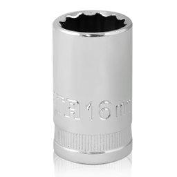 Soquete Estriado Cromado de 16 mm com Encaixe de 1/2 Pol.