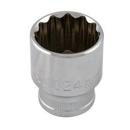 Soquete Estriado Cromado de  1/2 Pol. 24mm