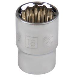 Soquete Estriado com Encaixe de 1/2 Pol. 18 mm