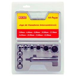 Jogo de Vazadores Intercambiáveis 5,0 a 32,0mm com 10 Peças
