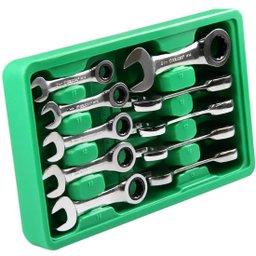 Jogo de Chaves Combinadas Curta com Catraca de 10 - 19 mm com 10 Peças