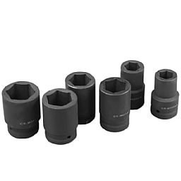 Kit de Soquetes de Impacto Sextavados 22 - 41 mm com Encaixes de 1 Pol. com 06 Pçs