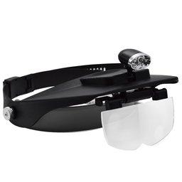 Lupa para Cabeça SLC-1009 com Iluminação 2 Leds e 4 Lentes de Aumento