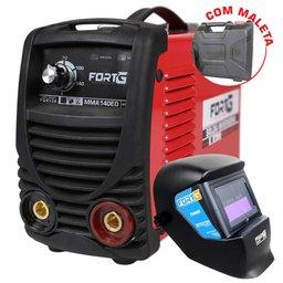 Kit Máquina de Solda Inversora FortG Pro FG4126 140A 220V + Máscara de Solda FortG Pro FG4000 Auto Escurecimento Tonalidade 11