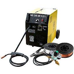 Kit Máquina de Solda V8 Brasil MIG 195BR FLEX 195A 220V + Arames para Solda sem Gás 0,8mm e 0,6mm V8 Brasil + Regulador Cilindro de Argônio Omega