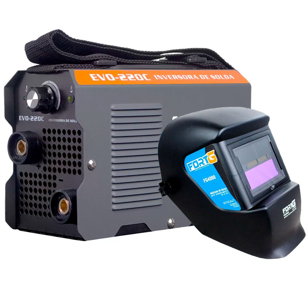 Kit Máquina Inversora de Solda 170A 220V Smarter EVO220C + Máscara de Solda Tonalidade 11 FortG FG4000