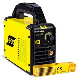 Kit Máquina Inversora de Solda 140A 220V Esab 0734002 + Eletrodo Ok Serralheiro E6013 2,5mm 1Kg