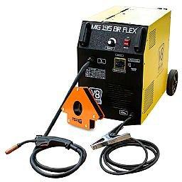 Kit Máquina de Solda Mig 195A 220V Mono 195BR FLEX - V8 Brasil 107608 + Esquadro Magnético para Soldagem 35Kg FG4710