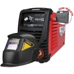 Kit Máquina de Solda Inversora MMA130ED FORTGPRO-FG4125 130A 110V + Máscara de Solda LYNUS-MSL-350F