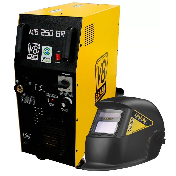 Kit Máquina de Solda V8 BRASIL-110473 250A 220V Mono + Máscara de Solda Auto Escurecimento Fixa Tonalidade 11