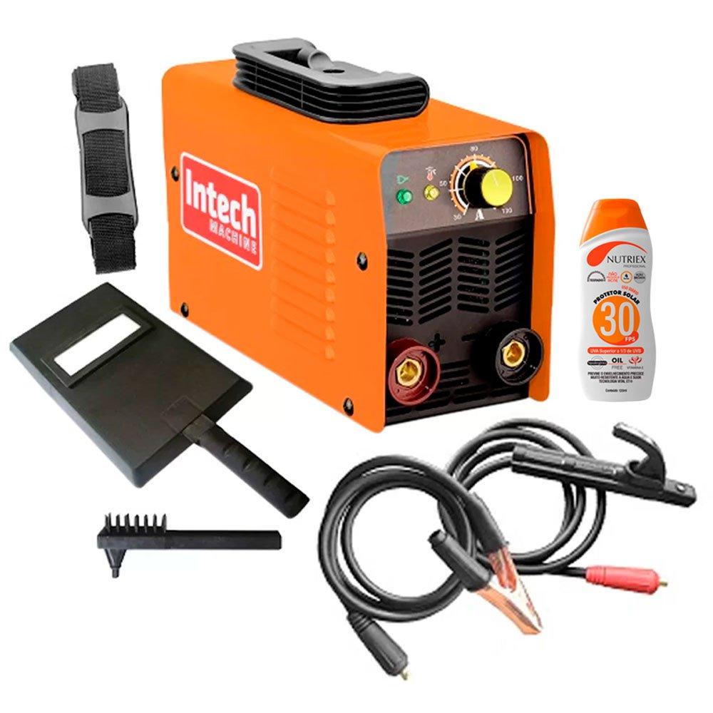 Kit Máquina Inversora de Solda 130A INTECH MACHINE-SMI130  + Protetor Solar FPS 30 120 ml