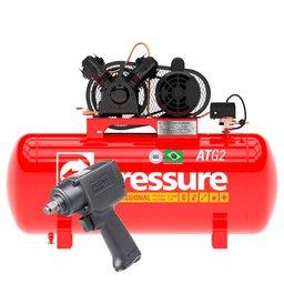 Kit Compressor de Ar Monofásico 10 Pés Pressure ATG2-10/100VM-N + Parafusadeira de Impacto Pneumática FortG Pro FG3100