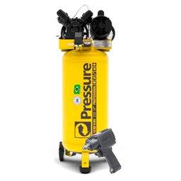 Kit Compressor SE Vertical 10 Pés Monofásico Pressure SE10/80-VM + Parafusadeira de Impacto FortG Pro FG3100