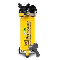 Kit Compressor de Pistão SE Vertical 10 Pés Trifásico Pressure SE10/80-VT + Parafusadeira de Impacto FortG FG3100
