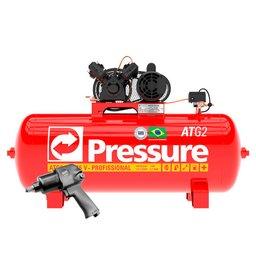 Kit Compressor de Ar Trifásico 10 Pés Pressure ATG2-10/175VT-N + Parafusadeira de Impacto FortG Pro FG3300
