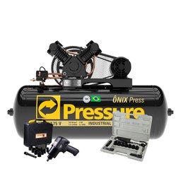 Kit Compressor de Ar Trifásico Pressure ON-10/175BRT-N + Parafusadeira de Impacto FortG Pro FG3300 13 Pçs + Catraca Pneumática Waft 16 Pçs