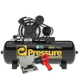 Kit Compressor de Ar Pressure ONIX-20/250 20 Pés 250L Trifásico + Chave de Impacto Chicago CP7736 1/2 Pol. 900Nm + Catraca Pneumática Waft 1/2 Pol. 16 Peças