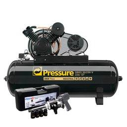 Kit Compressor de Ar Onix Pressure ON30250VT 30 Pés 250L Trifásico + Chave Parafusadeira de Impacto FortG Pro FG3400 1 Pol. + Mini Chave Parafusadeira de Impacto FortG Pro FG3400 58,4Kgfm