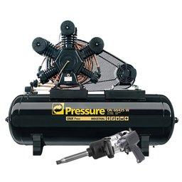 Kit Compressor de Pistão Pressure ONIX60/425 + Chave de Impacto Pneumática Shallper SK-79/S + Mini Parafusadeira de Impacto Pneumática FortG Pro FG3100