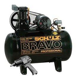 Kit Compressor Mono Industrial Schulz MONOCSL10BR + Parafusadeira de Impacto Pneumática FortG Pro FG3300