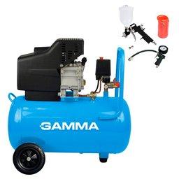 Motocompressor de Ar 2 Saídas de Ar e Protetor Térmico 2HP 24L  com Kit de Pintura