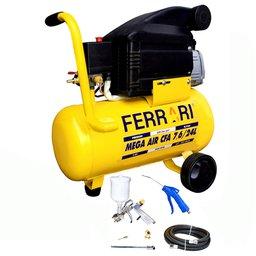 Motocompressor de Ar 7,6 Pés 24 Litros Bivolt com Kit de Pintura