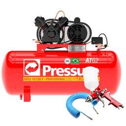 Kit Compressor de Ar Monofásico Pressure ATG210/100VMN + Pistola de Pintura HVLP + Mangueira Espiral 15m