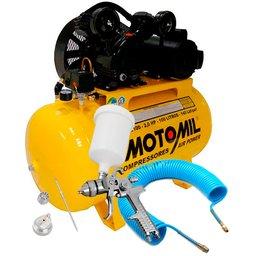 Kit Compressor Air Power Monofásico 10 Pés Motomil CMV10PL/100 + Pistola de Pintura HVLP + Mangueira Espiral 15m