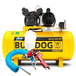 Kit Compressor de Ar Bulldog Fiac 10 Pés BG10100VM + Pistola de Pintura HVLP + Mangueira Espiral 15m