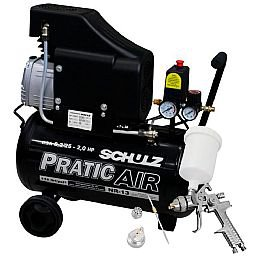 Kit Motocompressor 2HP 220V - SCHULZ-CSA8.25L + Kit Pistola de Pintura
