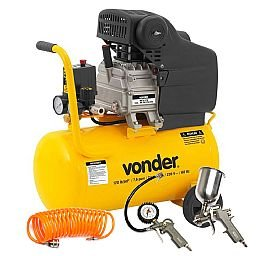 Kit Motocompressor de Ar MCV 076 24L 220V - VONDER-6828076 + Jogo de Pintura com 03 Peças