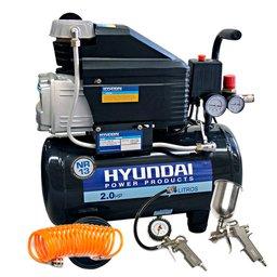 Kit Motocompressor de Ar 2HP 24 Litros 110V - HYUNDAI-HYAC24D + Jogo de Pintura com 03 Peças