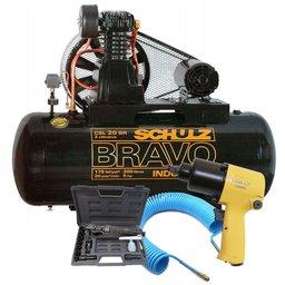 Kit Compressor Bravo 20 Pés 200 Litros 220/ 380V SCHULZ-CSL20BR/200 + Chave de Impacto + Catraca Pneumática + Mangueira Espiral