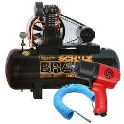 Kit Compressor Bravo 20 Pés 200 Litros 220/ 380V SCHULZ-CSL20BR/200 + Chave de Impacto Chicago + Mangueira