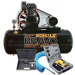 Kit Compressor Bravo 20 Pés 200 Litros 220/ 380V SCHULZ-CSL20BR/200 + Chave de Impacto + Catraca Pneumática + Mangueira