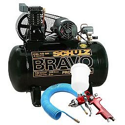Kit Compressor Bravo Profissional Industrial Schulz MONOCSL10BR + Pistola de Pintura + Mangueira Espiral 15m