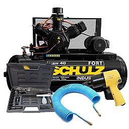 Kit Compressor de Ar Trifásico 220/380V 40 Pés Schulz MSW40/425MTB + Chave de Impacto + Catraca Pneumática 16 Peças + Mangueira 15m